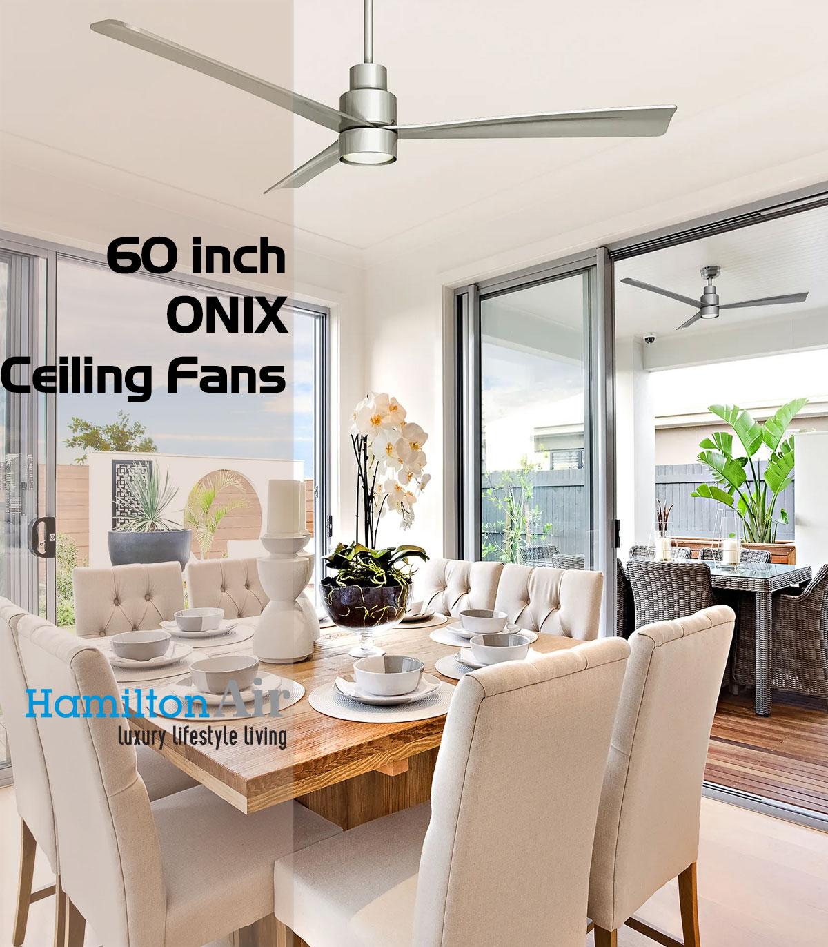 ONIX Satin Nickel quạt trần phòng khách