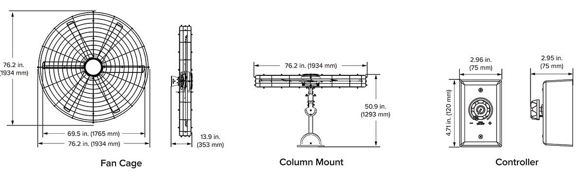 kích thước quạt treo tường công nghiệp Pivot