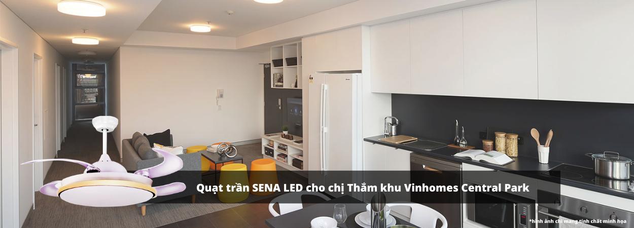 Lắp đặt quạt trần SENA LED chị Thắm khu Vinhomes Central Park